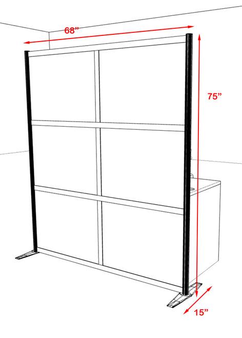 One Loft Modern Office Home Aluminum Frame Partition / Divider / Sneeze Guard, #UT-ALU-P24
