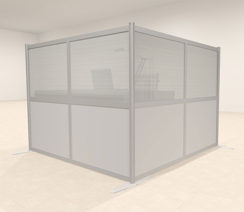 One L Shaped Loft Modern Office Home Aluminum Frame Partition / Divider / Sneeze Guard, #UT-ALU-P25-A