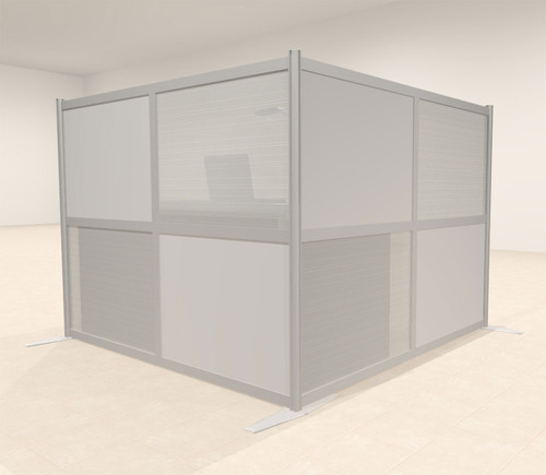 One L Shaped Loft Modern Office Home Aluminum Frame Partition / Divider / Sneeze Guard, #UT-ALU-P25-C
