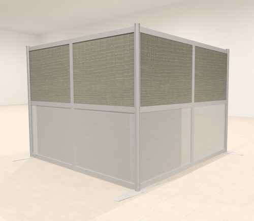 One L Shaped Loft Modern Office Home Aluminum Frame Partition / Divider / Sneeze Guard, #UT-ALU-P26-B