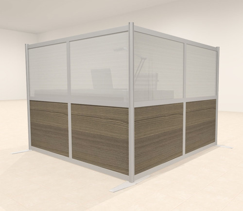 One L Shaped Loft Modern Office Home Aluminum Frame Partition / Divider / Sneeze Guard, #UT-ALU-P27-A