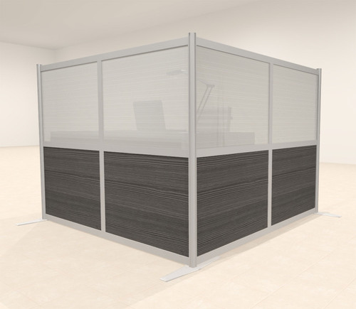 One L Shaped Loft Modern Office Home Aluminum Frame Partition / Divider / Sneeze Guard, #UT-ALU-P28-A