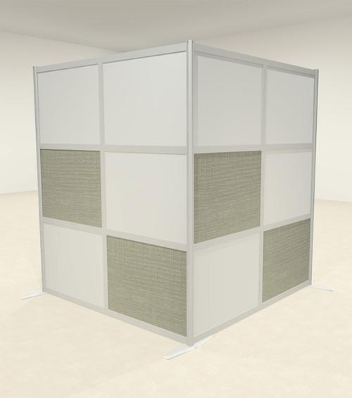 One L Shaped Loft Modern Office Home Aluminum Frame Partition / Divider / Sneeze Guard, #UT-ALU-P41-C