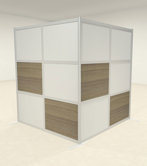 One L Shaped Loft Modern Office Home Aluminum Frame Partition / Divider / Sneeze Guard, #UT-ALU-P42-C