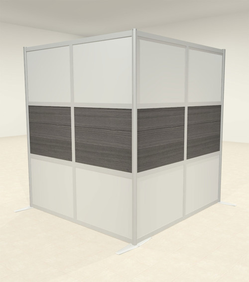 One L Shaped Loft Modern Office Home Aluminum Frame Partition / Divider / Sneeze Guard, #UT-ALU-P43-B