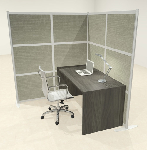 One L Shaped Loft Modern Office Home Aluminum Frame Partition / Divider / Sneeze Guard, #UT-ALU-P46