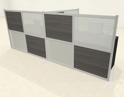 One T Shaped Loft Modern Office Home Aluminum Frame Partition / Divider / Sneeze Guard, #UT-ALU-P52-B
