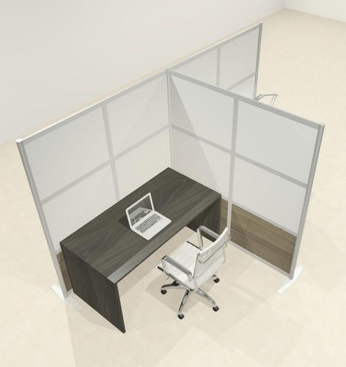 One T Shaped Loft Modern Office Home Aluminum Frame Partition / Divider / Sneeze Guard, #UT-ALU-P66-B