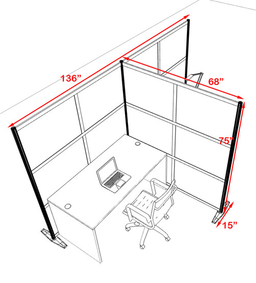 One T Shaped Loft Modern Office Home Aluminum Frame Partition / Divider / Sneeze Guard, #UT-ALU-P70