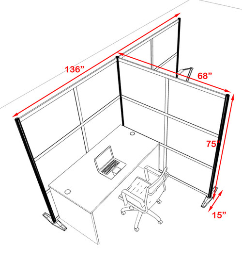 One T Shaped Loft Modern Office Home Aluminum Frame Partition / Divider / Sneeze Guard, #UT-ALU-P71