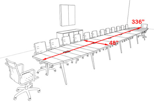 Modern Boat shaped 28' Feet Conference Table, #OF-CON-CW71