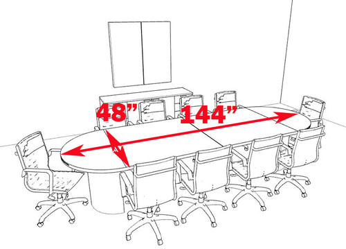 Modern Racetrack 12' Feet Conference Table, #CH-JAD-C8
