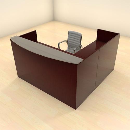 3pc L Shaped Modern Glass Counter Reception Desk Set, #CH-JAD-R4