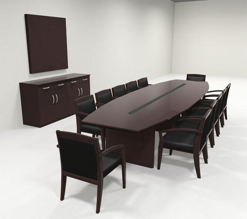 Modern Boat Shaped 12' Feet Veneer Office Conference Table, #RO-COR-C10