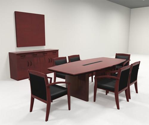 Modern Boat Shaped 8' Feet Veneer Office Conference Table, #RO-COR-C3