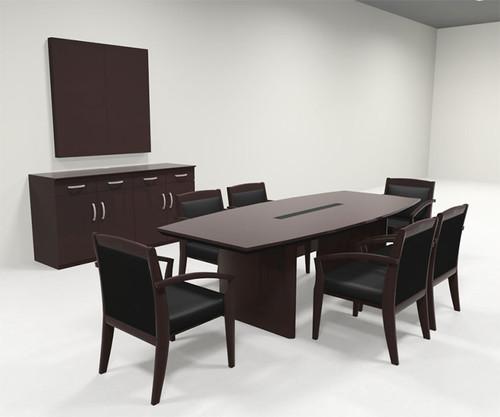 Modern Boat Shaped 8' Feet Veneer Office Conference Table, #RO-COR-C4