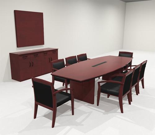 Modern Boat Shaped 10' Feet Veneer Office Conference Table, #RO-COR-C5
