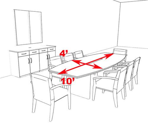 Modern Boat Shaped 10' Feet Veneer Office Conference Table, #RO-COR-C6