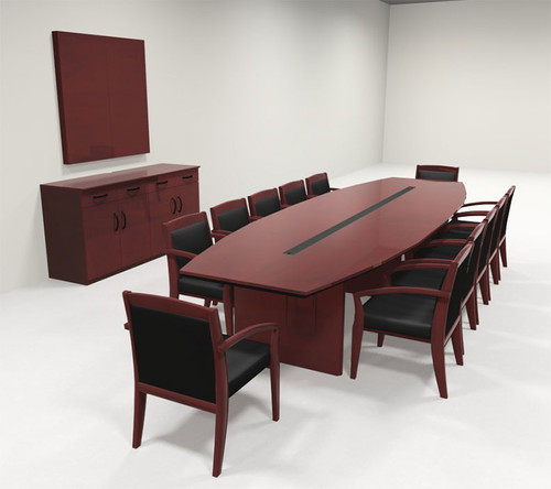 Modern Boat Shaped 12' Feet Veneer Office Conference Table, #RO-COR-C9