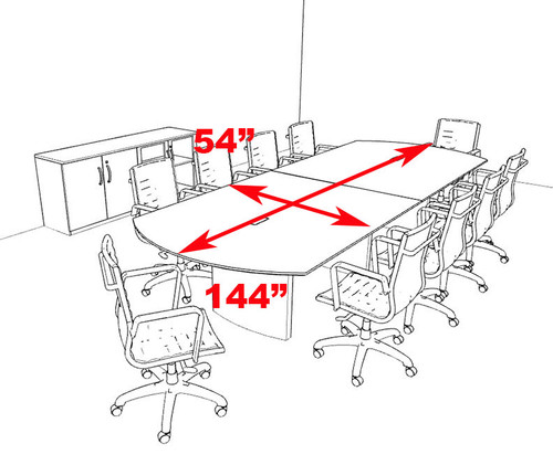 Modern Contemporary 12' Feet Conference Table, #RO-NAP-C12