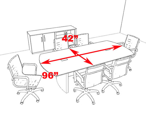 Modern Contemporary 8' Feet Conference Table, #RO-NAP-C4