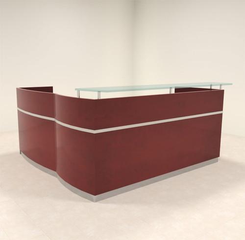 3pc Modern Glass L Shape Counter Reception Desk Set, #RO-NAP-R5