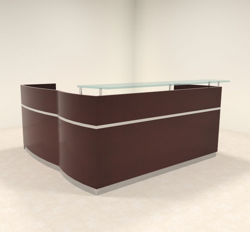 3pc Modern Glass L Shape Counter Reception Desk Set, #RO-NAP-R6
