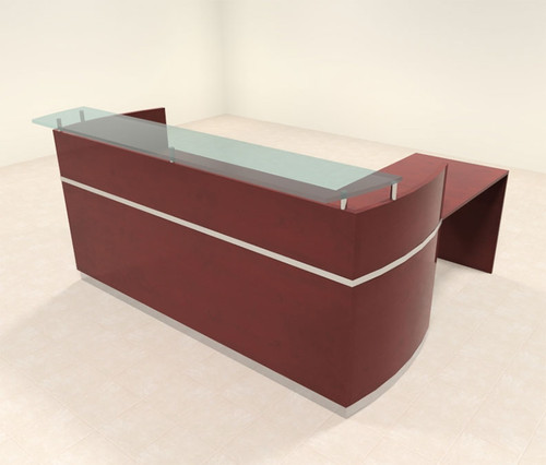 3pc Modern Glass L Shape Counter Reception Desk Set, #RO-NAP-R8
