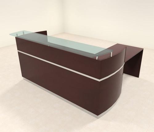 3pc Modern Glass L Shape Counter Reception Desk Set, #RO-NAP-R9