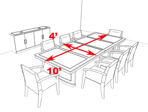 Traditional Rectangular 12' Feet Office Conference Table, #RO-SOR-C4