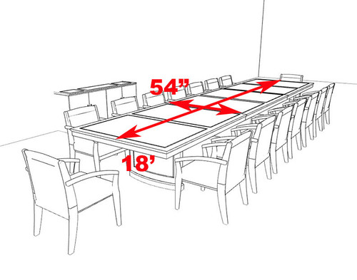 Traditional Rectangular 18' Feet Office Conference Table, #RO-SOR-C5