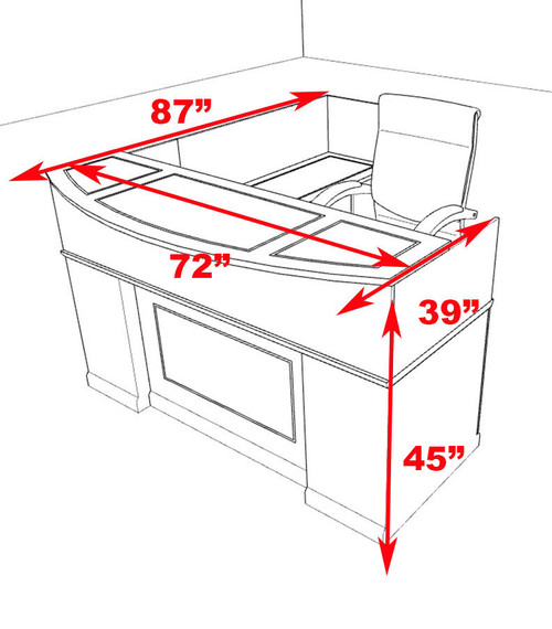 4pc Traditional L Shaped Executive Counter Reception Desk Set, #RO-SOR-R3