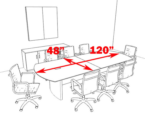 Modern Contemporary 10' Feet Conference Table, #MT-MED-C6