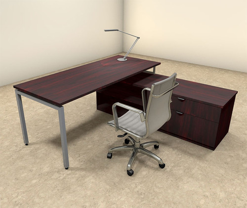 2pc L Shaped Modern Contemporary Executive Office Desk Set, #OF-CON-L48