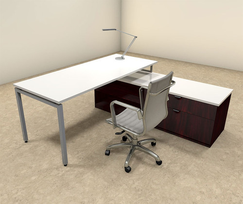 2pc L Shaped Modern Contemporary Executive Office Desk Set, #OF-CON-L53
