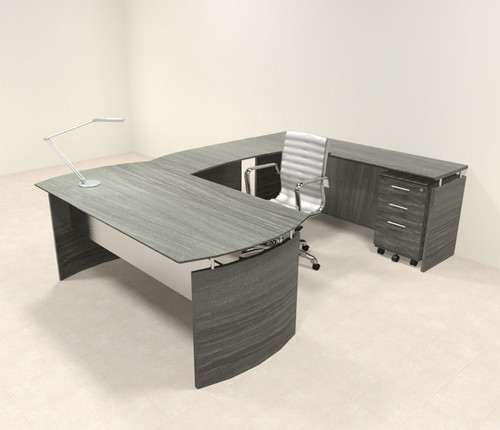 4pc Modern Contemporary U Shaped Executive Office Desk Set, #MT-MED-U1