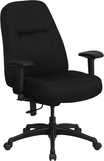 Big & Tall 400 lb. Capacity High Back Big & Tall Black Fabric Office Chair with Height Adjustable Arms and Extra WIDE Seat , #FF-0306-14