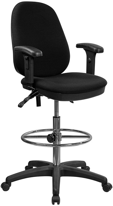 Ergonomic Multi-Functional Triple Paddle Drafting Stool with Adjustable Foot Ring and Arms , #FF-0506-14