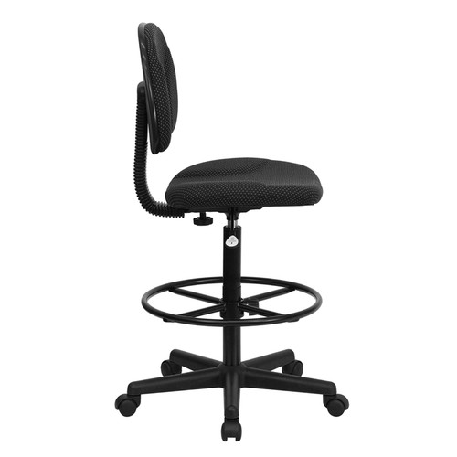 Black Patterned Fabric Ergonomic Drafting Stool (Adjustable Range 26''-30.5''H or 22.5''-27''H) , #FF-0507-14