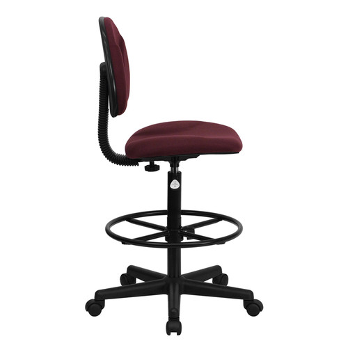 Burgundy Fabric Ergonomic Drafting Stool (Adjustable Range 26''-30.5''H or 22.5''-27''H) , #FF-0508-14