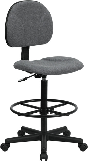Gray Fabric Ergonomic Drafting Stool (Adjustable Range 26''-30.5''H or 22.5''-27''H) , #FF-0510-14