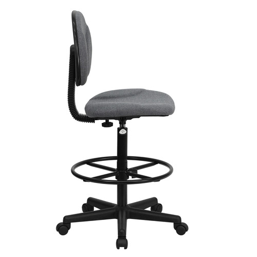 Gray Fabric Ergonomic Drafting Stool (Adjustable Range 26''-30.5''H or 22.5''-27''H) , #FF-0510-14