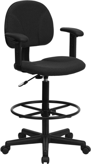 Black Patterned Fabric Ergonomic Drafting Stool with Arms (Adjustable Range 26''-30.5''H or 22.5''-27''H) , #FF-0511-14