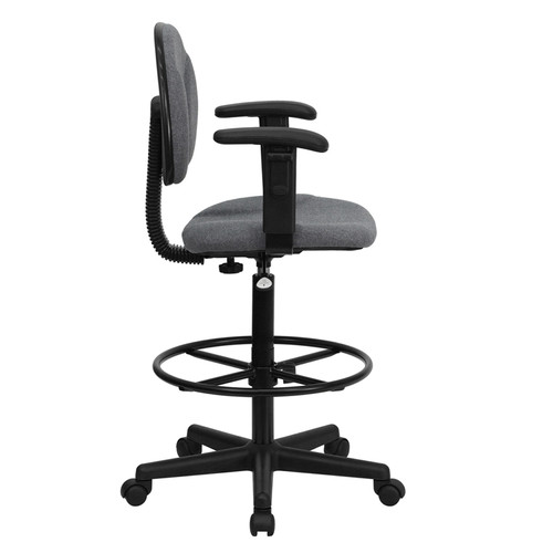 Gray Fabric Ergonomic Drafting Stool with Arms (Adjustable Range 26''-30.5''H or 22.5''-27''H) , #FF-0514-14
