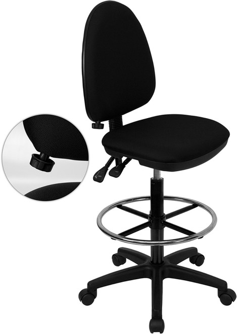 Mid-Back Black Fabric Multi-Functional Drafting Stool with Adjustable Lumbar Support , #FF-0515-14