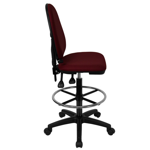 Mid-Back Burgundy Fabric Multi-Functional Drafting Stool with Adjustable Lumbar Support , #FF-0517-14