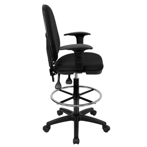 Mid-Back Black Fabric Multi-Functional Drafting Stool with Arms and Adjustable Lumbar Support , #FF-0518-14