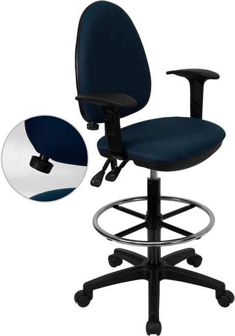 Mid-Back Navy Blue Fabric Multi-Functional Drafting Stool with Arms and Adjustable Lumbar Support , #FF-0519-14