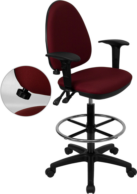 Mid-Back Burgundy Fabric Multi-Functional Drafting Stool with Arms and Adjustable Lumbar Support , #FF-0520-14