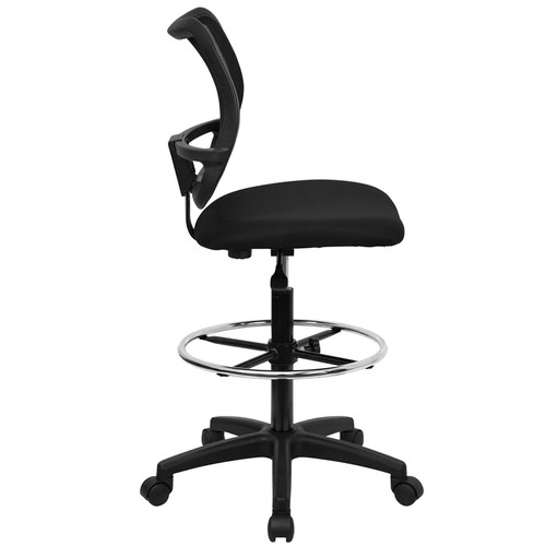 Mid-Back Mesh Drafting Stool with Black Fabric Seat , #FF-0521-14